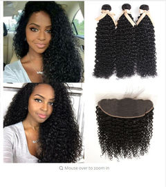 Good Quality 100% Brazilian Virgin Hair & Jerry Curly 100% Indian Virgin Human Hair Extensions 13 X 6 Lace Frontal on sale