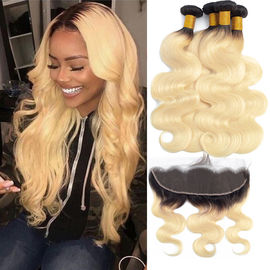Good Quality 100% Brazilian Virgin Hair & Enropean Virgin Human Hair Extensions 13 X 6 Lace Frontal 1B / 613 Color on sale