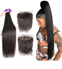 Good Quality 100% Brazilian Virgin Hair & 40 Inch Silky Straight Indian Natural Hair Extensions For Black Women on sale