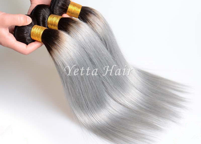Natural Silver Grey Ombre Human Hair Extensions Straight Brazilian