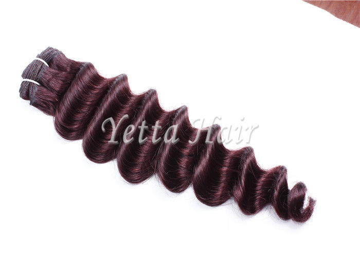 Customized Dark Red Virgin Human Hair Extensions Loose Wave With Soft