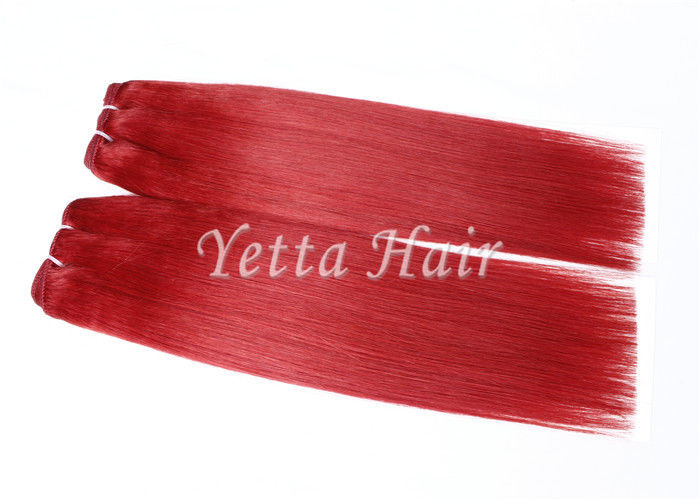 Bright Red Unprocessed Eurasian Remy Hair 16 Inch Human Hair Weave