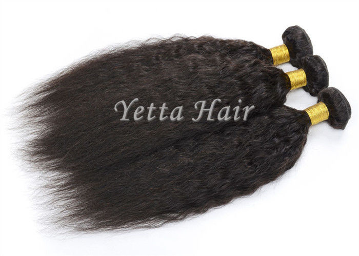 Real Tangle Free Kinky Straight Peruvian Hair Weave For Black Women