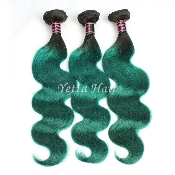 Green Unprocessed Brazilian Body Wave Human Hair Weave Tangle Shed Free