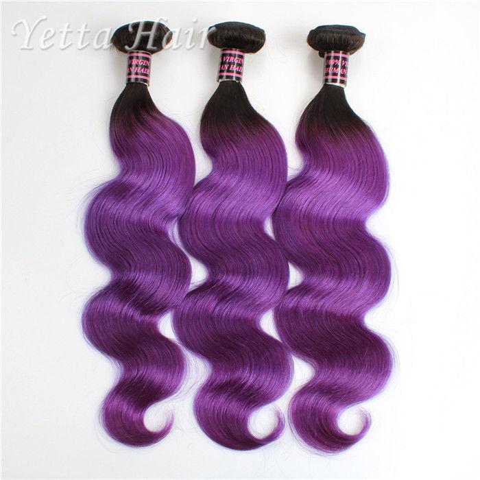 Ombre Virgin Russian Human Hair Burgundy Hair Extensions 18inch