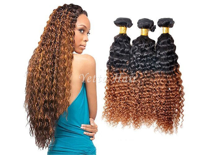 Highlighted Deep Curly Remy Ombre Hair Extensions For Black Women