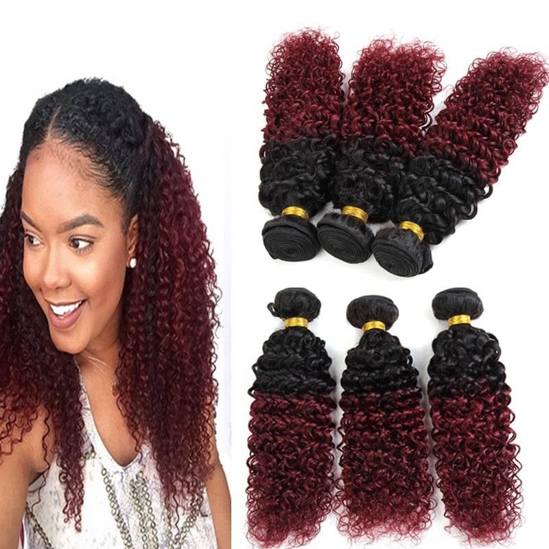 8a Brazilian Virgin Hair Ombre Human Hair Extensions 1b 99j Kinky