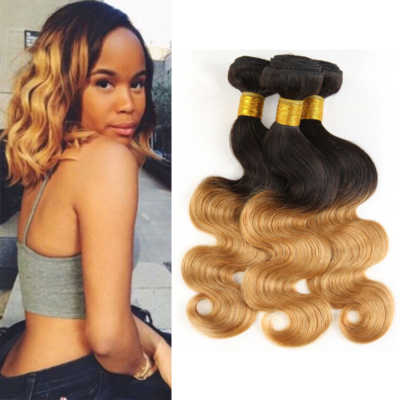 1b 30 Two Tone Ombre Human Hair Extensions Brazilian Loose Wave