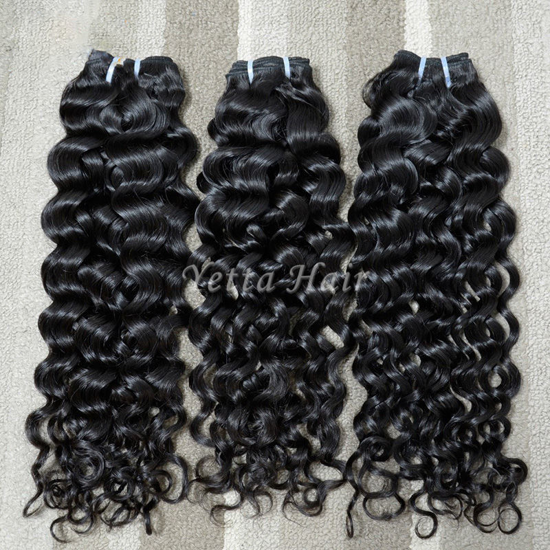 Full Hair Bundles Malaysian Curly Hair Extensions Wet And Wavy Hair 1b
