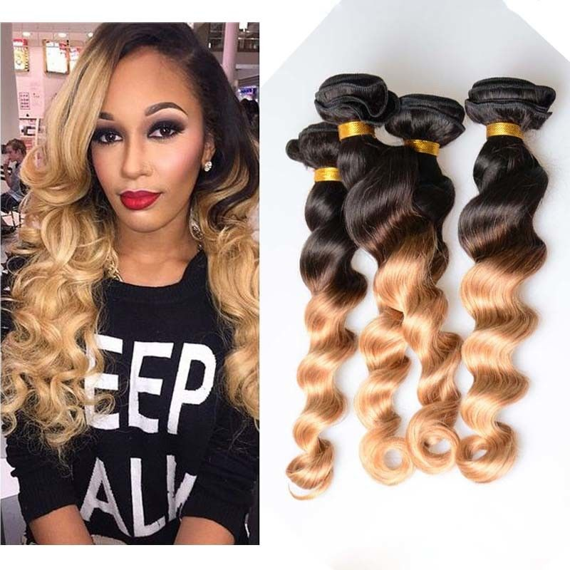 10 26 Brazilian Ombre Remy Human Hair Extensions Loose Wave 1b