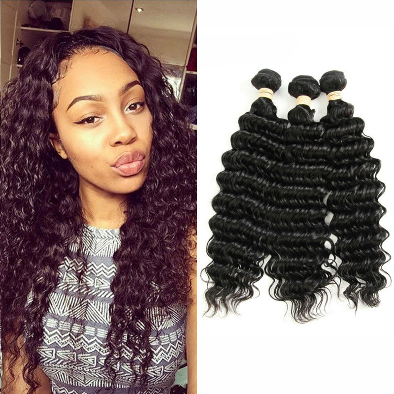 No Smell 8a Peruvian Human Hair Weave Deep Wave Soft Curly Weave Hair