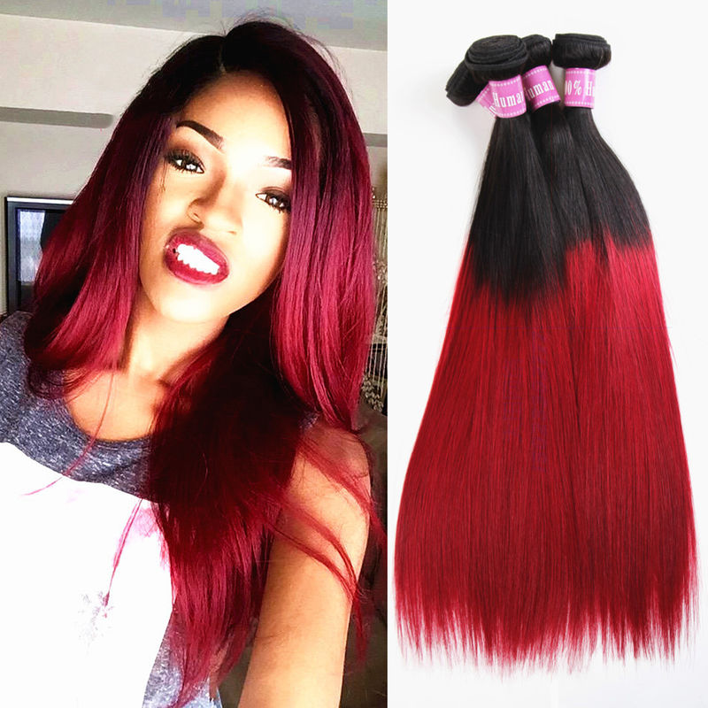 Black To Red Ombre Clip In Hair Extensions For Long Hair With No Tangle