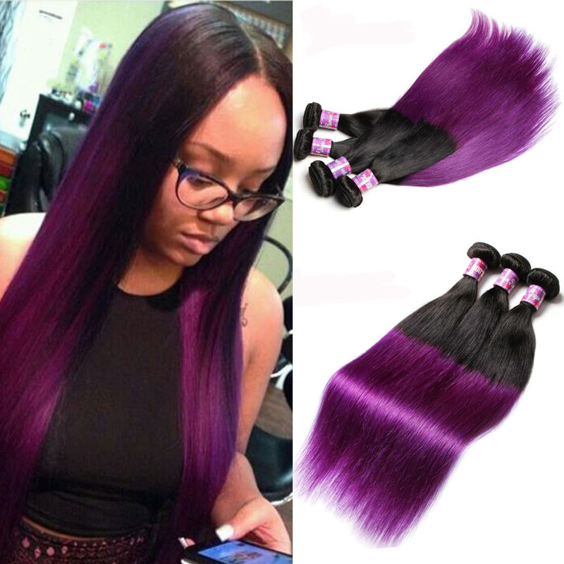 Peruvian Straight Hair 7a Ombre Human Hair Extensions 1b Purple Color