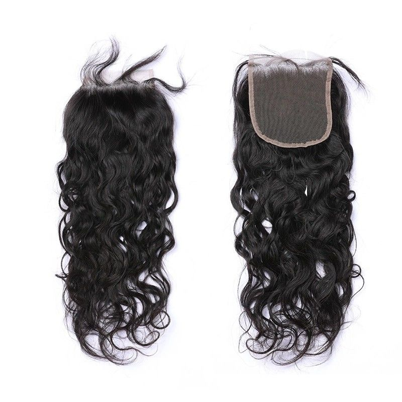 Natural Wave Closure Free Part Peruvian Human Hair Extensions No Shedding No Tangle