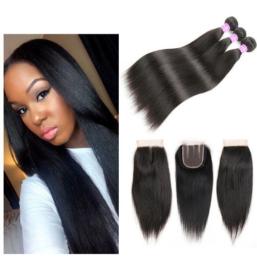 Straight Natural Color 100 Virgin Brazilian Human Hair Bundles With Closure 4 X 4