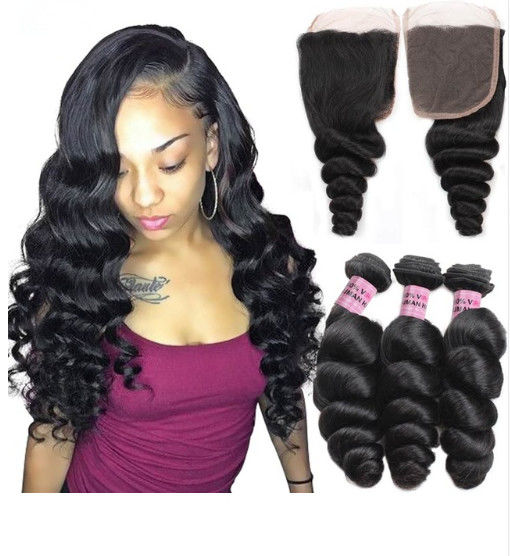Double Weft Peruvian Loose Wave Weave Extensions 1B Silky And Soft