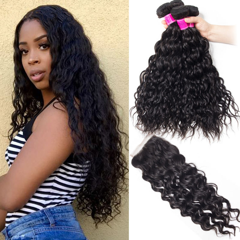 10A Grade 24 Inch Virgin Human Hair Extensions Natural Wave Black Color