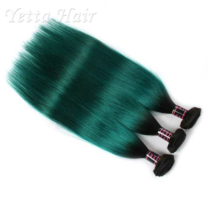 1b Green Ombre Human Hair Extension Silky Straight Hair Weave