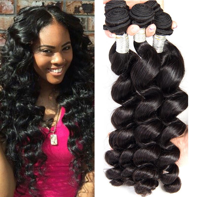Loose Wave Virgin Peruvian Human Hair Weave Loose Curly Hair Bundles 1b