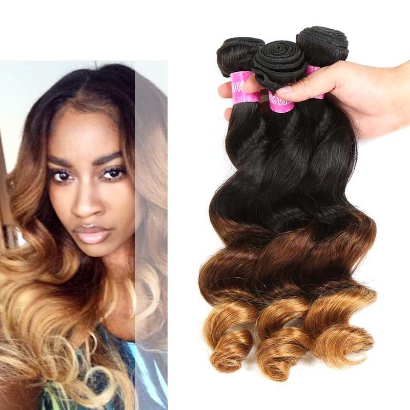 Peruvian Loose Wave Ombre Human Hair Extensions 3 Tone Ombre Hair Weave
