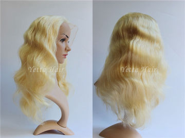 All Length Full Lace Virgin Hair Wigs / Blonde Body Wave Hair No Foul Odor