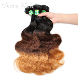 China Three Tone Natural European Remy Hair Extensions Double Drawn Weft factory