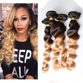 "10"" - 26"" Brazilian Ombre Remy Human Hair Extensions Loose Wave 1B / 27 Blonde Hair"
