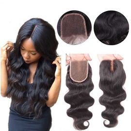 Middle Part Human Hair Lace Closure With Baby Hair 4x4 Natural Color Body Wave