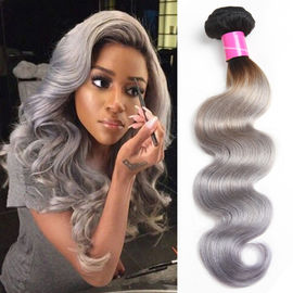 China Body Wave Thick Ombre Human Hair Extensions 40 Inch Grey For Women factory
