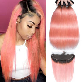 China Pink Front Ombre Human Hair Extensions Silk 10A Grade Tangle Free factory