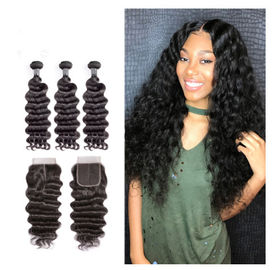 China 12 Inch Virgin Indian Human Hair Weave / Closure Deep Wave Bundles factory
