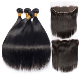 China 8''Indian Straight Bundles With Closure Virgin Hair Extensions Real Human Hair factory