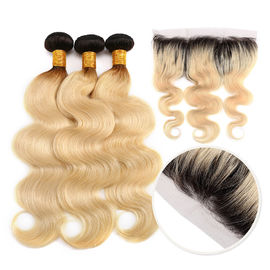 China 10A Grade 100% Peruvian Ombre Human Hair Extensions 1B / 613 Blonde Color factory
