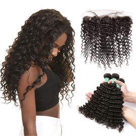 China Smooth Deep Wave Bundles With Lace Frontal 8A Virgin Brazilian Hair / Soft Black Human Hair factory