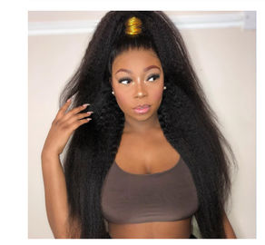China No Synthetic Kinky Straight Indian Remy Human Hair Extensions For Black Ladies factory
