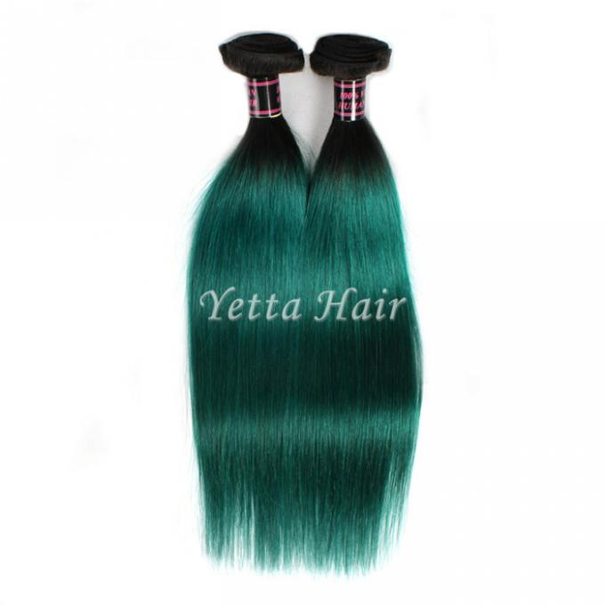 Dark Roots Green Ombre Human Hair Extensions Brazilian Hair Weave