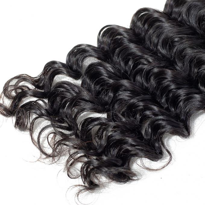 Deep Wave 1B 100% Brazilian Human Virgin Hair Bundles For Black Lady