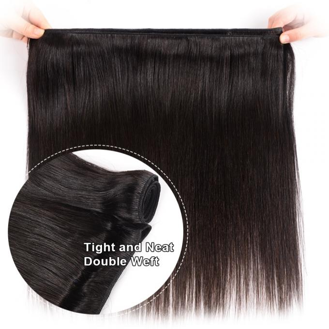 8 Inch 100 Peruvian Human Hair Weave Straight Bundles With Lace Frontal 1B